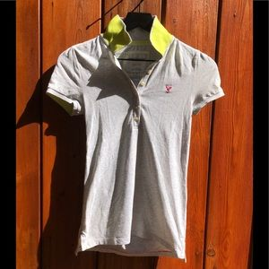 American Eagle| Light Grey and Chartreuse Shirt